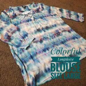 ⭕Ana Colorful Longsleeve Blouse Size Large⭕